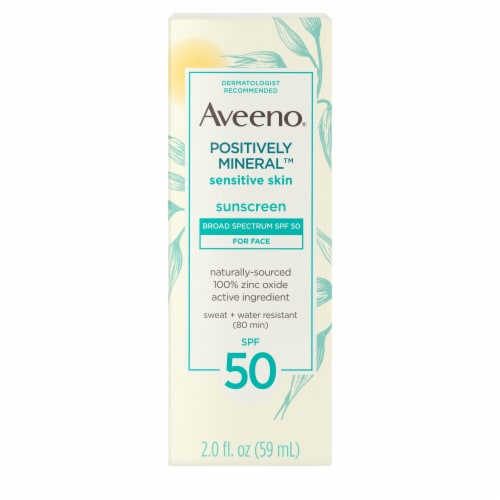 Aveeno Positively Mineral Sensitive Skin Face Sunscreen Lotion SPF 50 Perspective: front