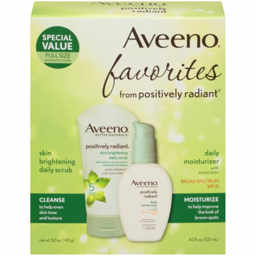 Aveeno Favorites Skin Brightening Daily Scrub & Daily Moisturizer with SPF 15 2 Count Perspective: front