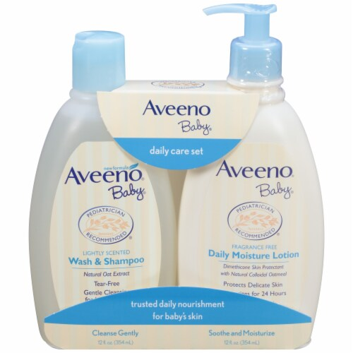 Aveeno Baby Wash & Shampoo and Lotion Daily Care Set Perspective: front