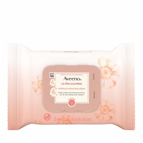 Aveeno Ultra Calming Makeup Removing Wipes 25 Count Perspective: front