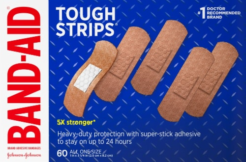 Band-Aid Tough Strips Fabric Adhesive Bandages Perspective: front