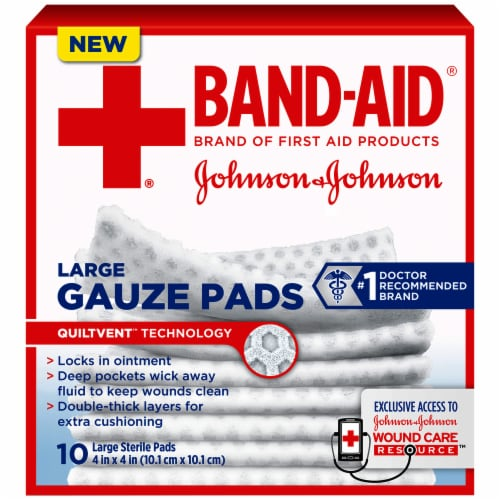 Band-Aid Large Gauze Pads 10 Count Perspective: front