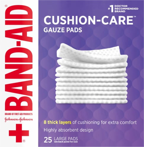 Band-Aid Large Sterile Gauze Pads 25 Count Perspective: front