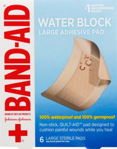 Band-Aid Large First Aid Waterproof Pads 6 Count Perspective: front