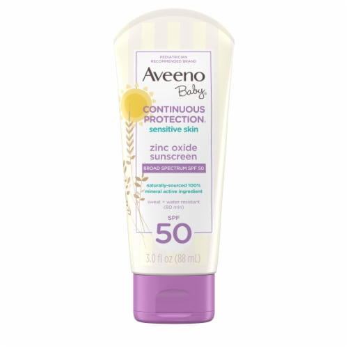 Aveeno Baby Continuous Protection Sensitive Skin Sunscreen Lotion SPF50 Perspective: front