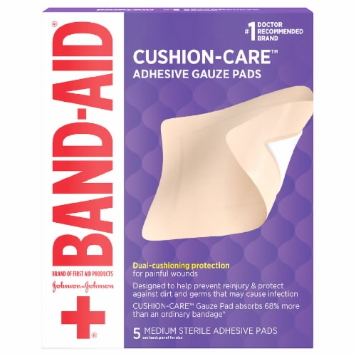 Band-Aid Medium All-in-One Adhesive Gauze Pads Perspective: front