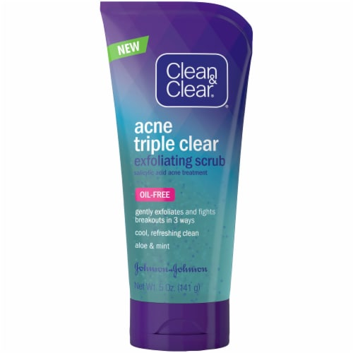 Clean & Clear Acne Triple Clear Exfoliating Facial Scrub Perspective: front