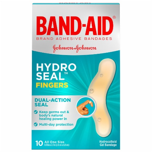 Band-Aid Hydro Seal Fingers One Size Hydrocolloid Gel Bandages 10 Count Perspective: front