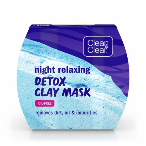 Clean & Clear Night Relaxing Oil-Free Detox Clay Mask Perspective: front