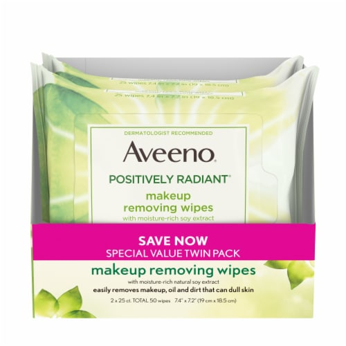 Aveeno Positively Radiant Makeup Removing Wipes - 2 Pack Perspective: front