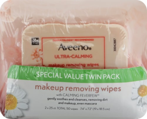 Aveeno Ultra Calming Makeup Removing Wipes Twin Pack 50 Count Perspective: front