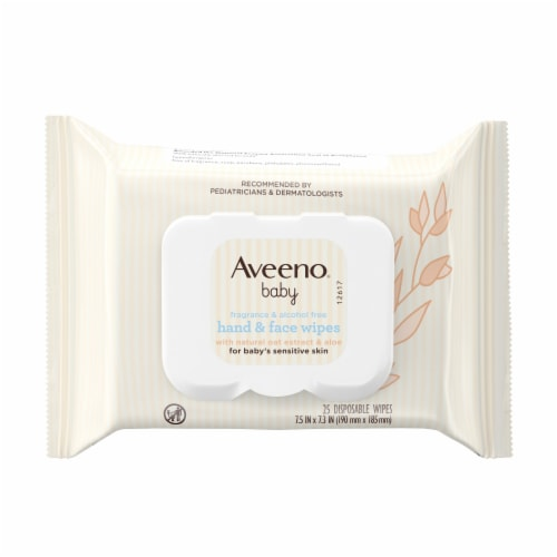 Aveeno Baby Hand & Face Wipes For Baby's Sensitive Skin Perspective: front