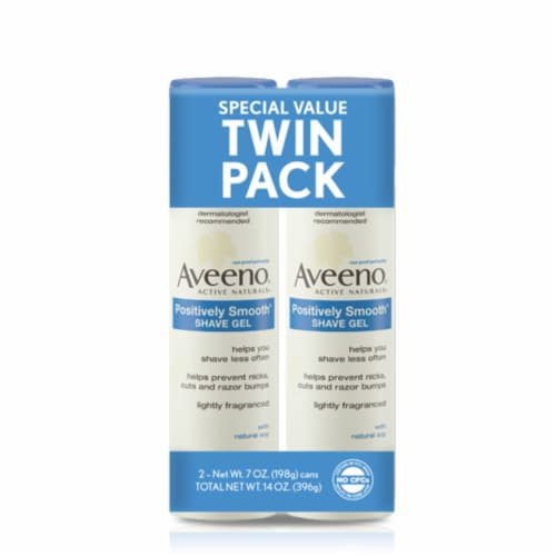 Aveeno Positively Smooth Shave Gel Twin Pack Perspective: front
