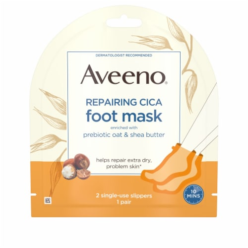 Aveeno Prebiotic Oat & Shea Butter Repairing CICA Foot Mask Perspective: front