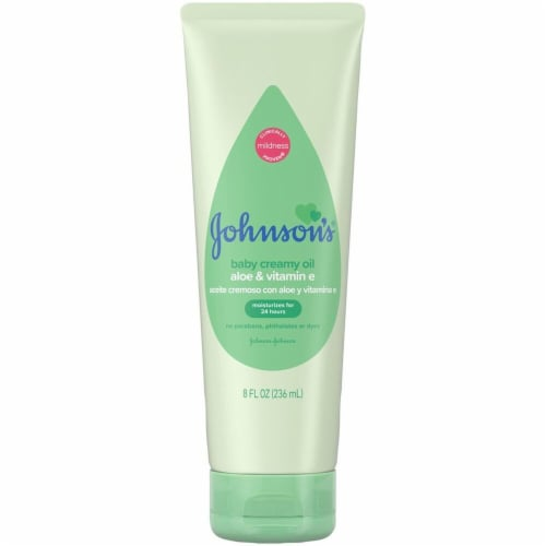 Johnson's Creamy Baby Oil With Aloe and Vitamin E Perspective: front