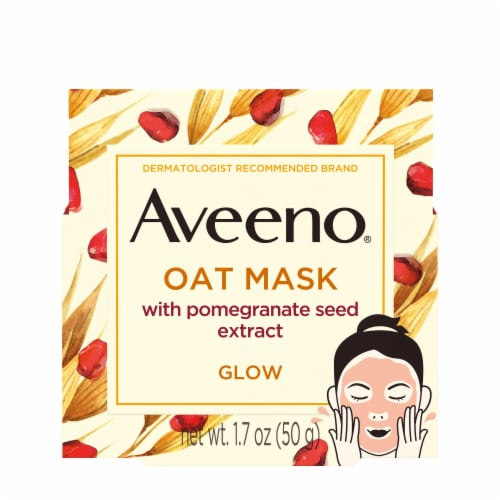 Aveeno Glow Oat Mask with Pomegranate Seed Extract Perspective: front