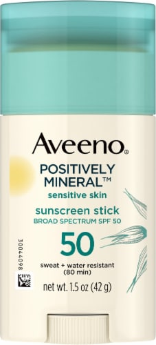 Aveeno Positively Mineral Sensitive Skin Sunscreen Stick SPF 50 Perspective: front