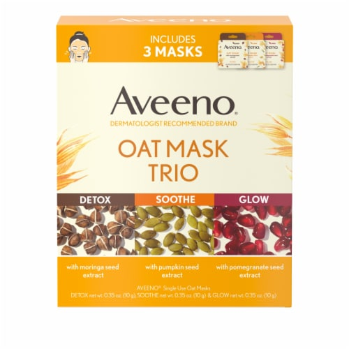 Aveeno Oat Mask Trio Variety Pack Perspective: front