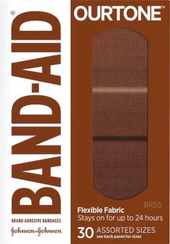 Band-Aid OurTone BR55 Assorted Flexible Fabric Adhesive Bandages Perspective: front