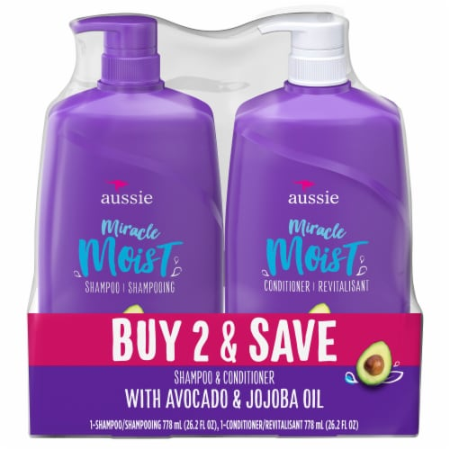 Aussie Miracle Moist with Avocado & Jojoba Oil Paraben Free Shampoo & Conditioner Dual Pack Perspective: front