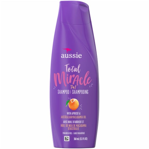 Aussie Paraben-Free Total Miracle Shampoo with Apricot & Macadamia For Hair Damage Perspective: front