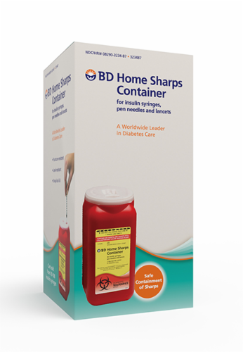 BD Home Sharps Container for Insulin Syringes Pen Needles and Lancets Perspective: front