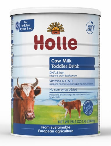 Holle Non-GMO, European Cow Milk Toddler Drink with DHA for Healthy Brain Development 1 Year Perspective: front