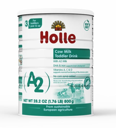 Holle Non-GMO, A2 Cow Milk Toddler Drink with DHA for Healthy Brain Development 1 Year Perspective: front
