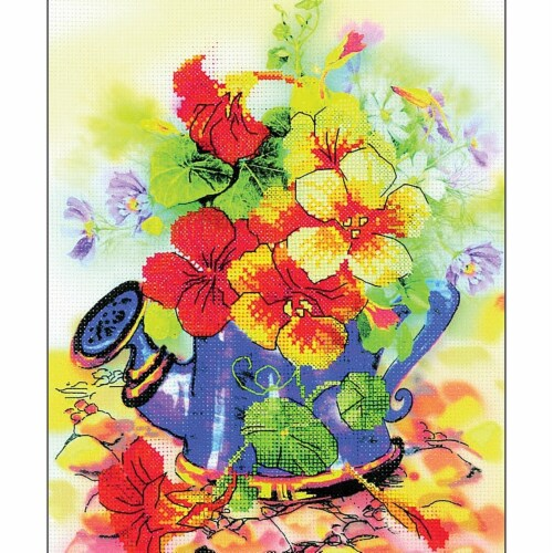 Riolis R0068PT 8.25 x 11.75 in. Garden Watering Can Stamped Cross Stitch Kit - 14 Count Perspective: front