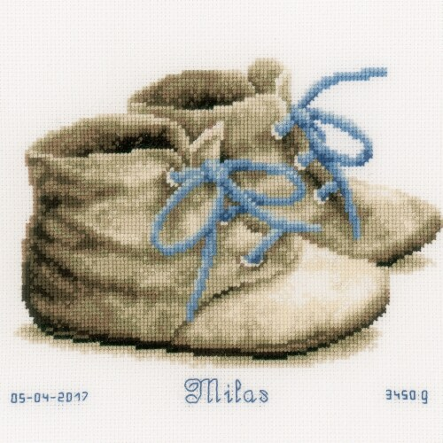 Vervaco V0162101 7.25 x 6 in. Counted Cross Stitch Kit - Baby Shoes on Aida - 14 Count Perspective: front