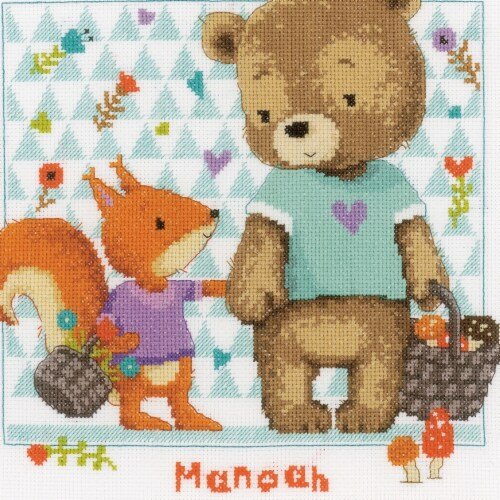 Vervaco V0162670 10.75 x 11.25 in. Counted Cross Stitch Kit - Bear & Squirrel on Aida - 14 Co Perspective: front