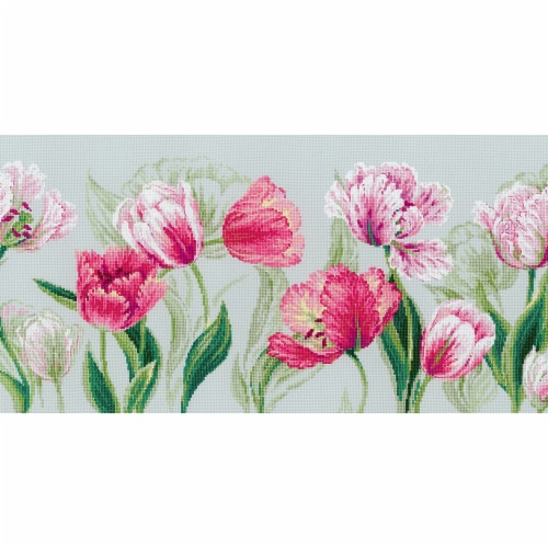 Riolis R100-052 27.5 x 11.75 in. Spring Tulips Counted Cross Stitch Kit - 14 Count Perspective: front