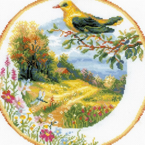 Riolis R1693 Plate & Bird Counted Cross Stitch Perspective: front