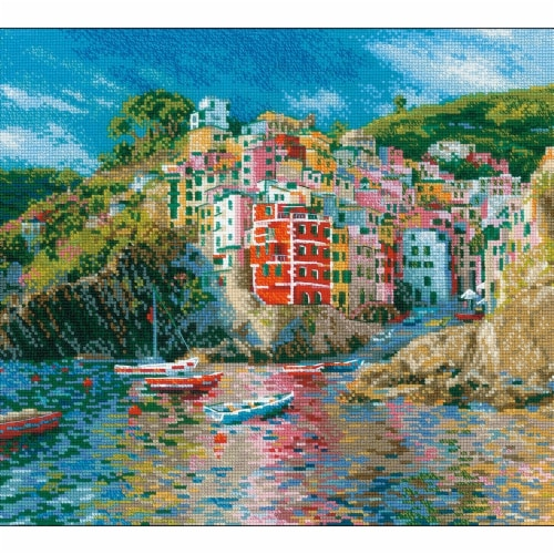 Riolis R1747 Boat & Cliff Counted Cross Stitch Perspective: front