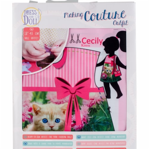 Vervaco V0171709 Dress Your Doll Making Couture Outfit Set, Cecily Kitten Perspective: front