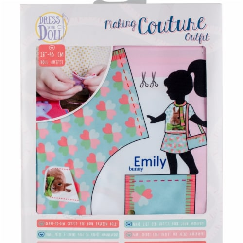 Vervaco V0171712 Dress Your Doll Making Couture Outfit Set, Emily Bunny Perspective: front