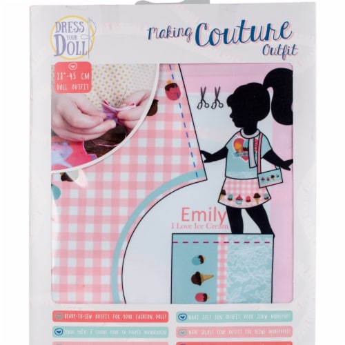 Vervaco V0171714 Dress Your Doll Making Couture Outfit Set, Emily I Love Ice Cream Perspective: front