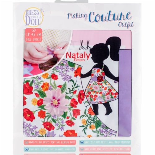 Vervaco V0171719 Dress Your Doll Making Couture Outfit Set, Nataly Flowers Perspective: front