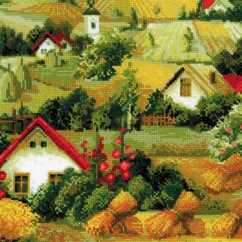 Riolis R1569 15.75 x 15.75 in. Serbian Landscape Counted Cross Stitch Kit, 10 Count Perspective: front