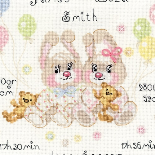Riolis R1713 Cross Stitch Kit - Twins Birth Announcement, 7.75 x 7.75 in. Perspective: front