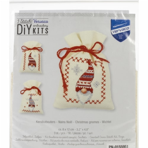 Vervaco V0155951 Counted Cross Stitch Kit - Christmas Gnomes Perspective: front