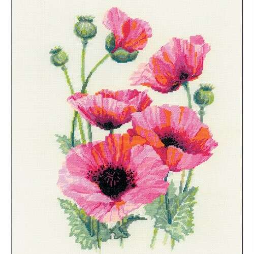 Riolis R1775 Counted Cross Stitch Kit - Pink Poppies Perspective: front
