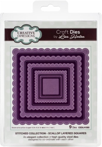 Creative Expressions Stitched Craft Dies By Lisa Horton-Scallop Layered Squares Perspective: front
