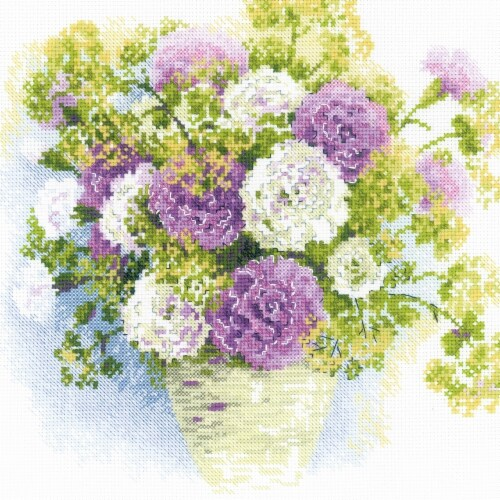 Riolis R1846 Watercolor Carnations-Counted Cross Stitch Perspective: front