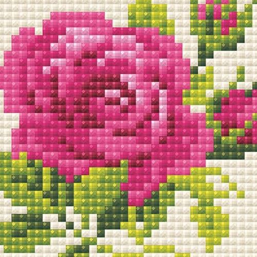 Riolis RAM0031 Pink Rose -Diamond Mosiac Kit Perspective: front