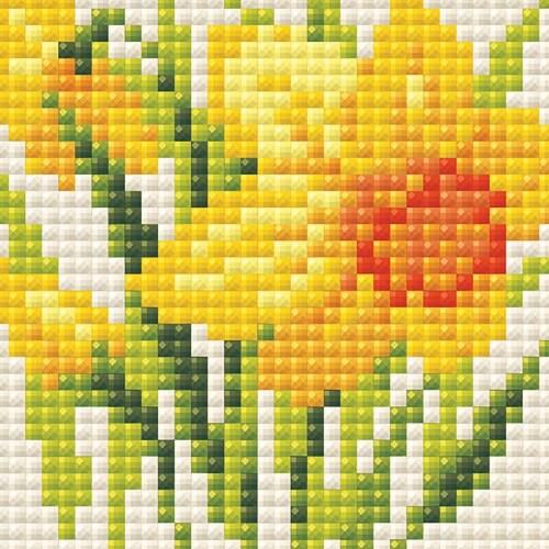 Riolis RAM0032 Yellow Narcissus-Diamond Mosaic Kit Perspective: front
