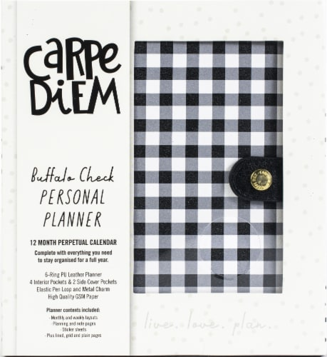 Carpe Diem Personal Planner-Buffalo Check Perspective: front