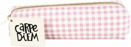 Carpe Diem Slim Pencil Case-Ballerina Pink Check Perspective: front