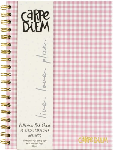 """Carpe Diem Hardcover Notebook 6.9""""X9.8"""" 80/Sheets-Ballerina Pink Check Perspective: front"""