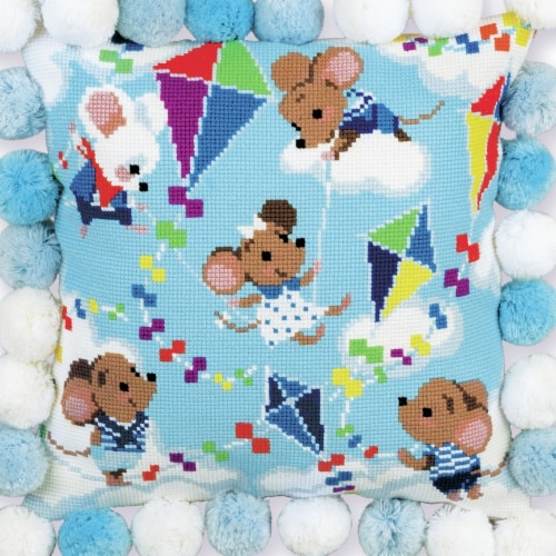 Riolis R1836 11.75 x 11.75 in. High Above The Clouds Cushion Counted Cross Stitch Kit - Count Perspective: front